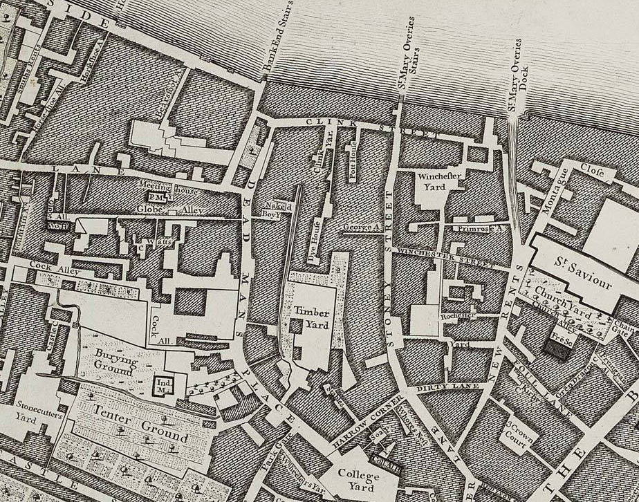 Section of map of London by John Rocque, 1746