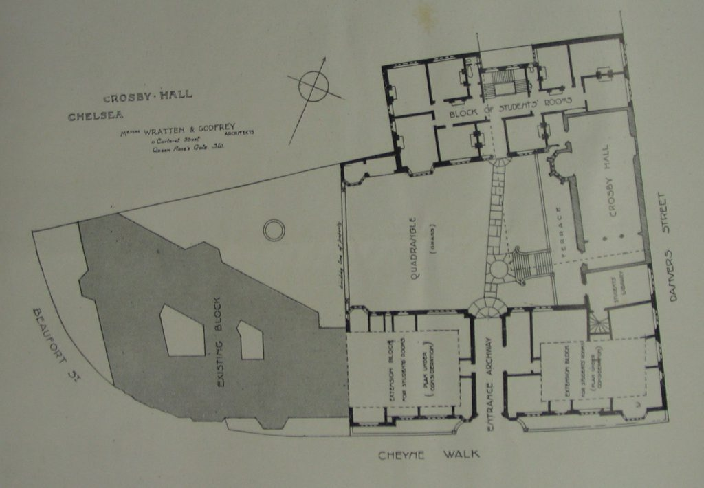 Plans for college buildings, including Crosby Hall and More's Garden