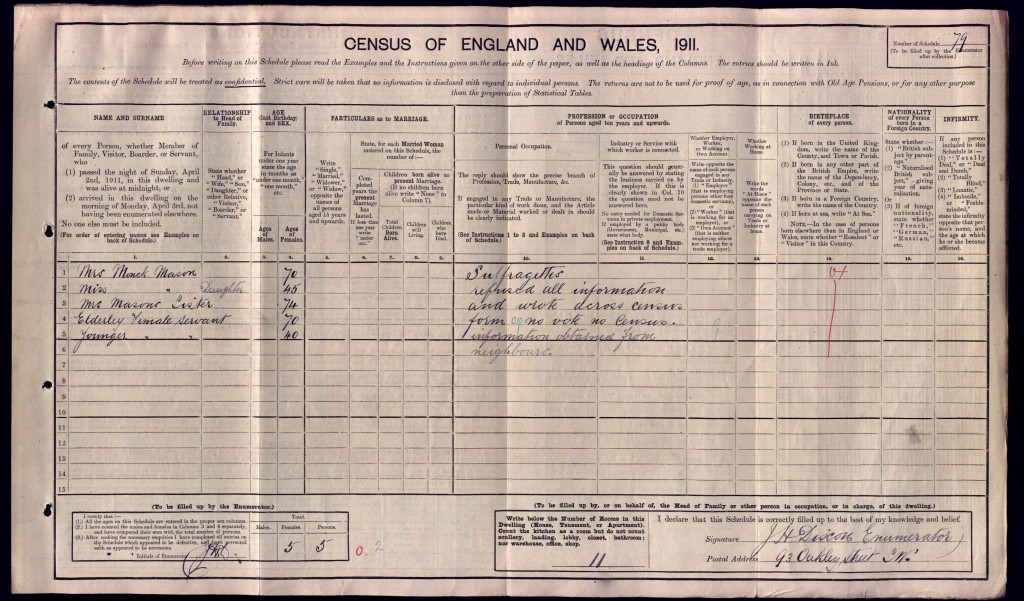 1911 census return - 93 Oakley Street