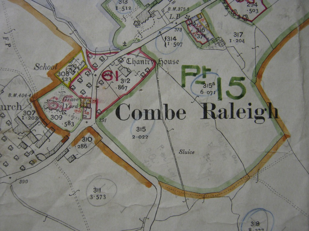 Combe Raleigh and the Chantry House, Ordnance Survey map, 1905