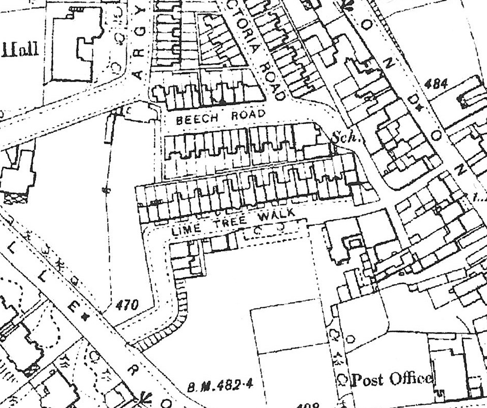Lime Tree Walk completed and shown on Ordnance Survey map, 1909