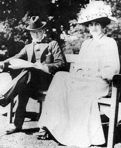 Winston Churchill and his fiancée, Clementine Hozier, 1908