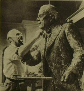 Uli Nimptsch working on the statue of David Lloyd George, 1962
