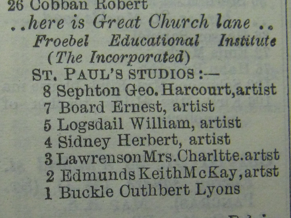 St Paul's Studios in the London Post Office Directory, 1922